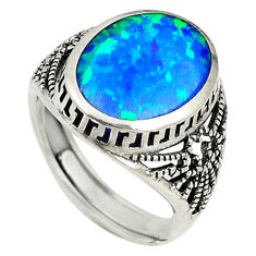 Blue australian opal (lab) sterling silver adjustable ring size 6 a73627 c24429