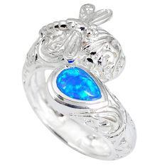 Blue australian opal (lab) 925 sterling silver dragonfly ring size 8 c15868