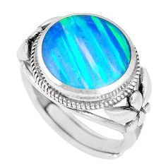 2.81cts blue australian opal (lab) sterling silver ring size 6.5 a92842 c24415