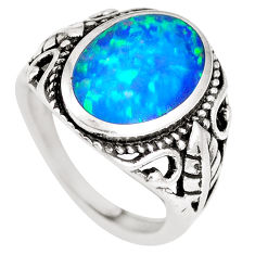 3.68cts blue australian opal (lab) sterling silver ring size 6.5 a92855 c24421