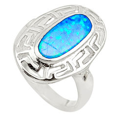 Blue australian opal (lab) sterling silver ring jewelry size 6.5 a73490 c24434