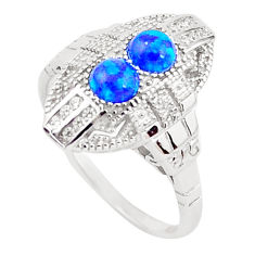 1.54cts blue australian opal (lab) topaz 925 silver ring size 7 a96672 c24488