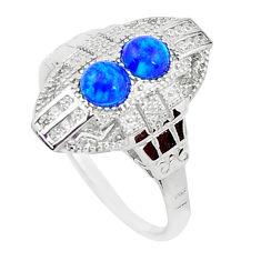 1.48cts blue australian opal (lab) topaz 925 silver ring size 7 a96680 c24483