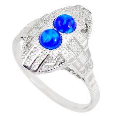 1.48cts blue australian opal (lab) topaz 925 silver ring size 8 a89057 c24482