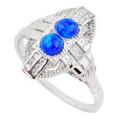 1.56cts blue australian opal (lab) topaz 925 silver ring size 9 a96675 c24495