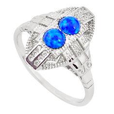 1.56cts blue australian opal (lab) topaz 925 silver ring size 9 a96677 c24485