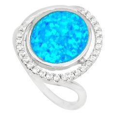 2.72cts blue australian opal (lab) topaz 925 sterling silver ring size 6 c22990