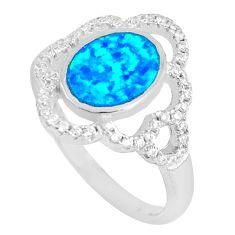 3.13cts blue australian opal (lab) topaz 925 sterling silver ring size 8 c12384