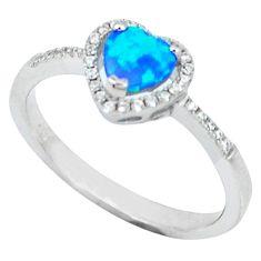 Blue australian opal (lab) topaz 925 sterling silver ring size 9 c15831