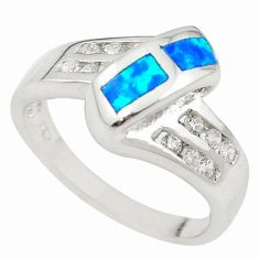 Blue australian opal (lab) topaz enamel 925 silver ring size 6.5 a73481 c24493