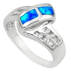 Blue australian opal (lab) white topaz 925 silver ring jewelry size 7 c15835
