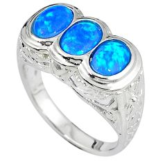 Past present future blue australian opal 925 sterling silver ring size 9 c15879