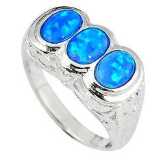 Blue australian opal oval shape 925 sterling silver ring size 9 c15872