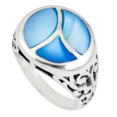 Blue blister pearl enamel 925 sterling silver ring jewelry size 6.5 c12897