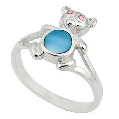 Blue blister pearl enamel 925 sterling silver ring jewelry size 8 c12972