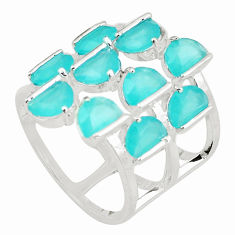 10.33cts blue chalcedony 925 sterling silver ring jewelry size 6 c19181