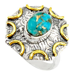 3.14cts blue copper turquoise 925 silver 14k gold solitaire ring size 6.5 r37268
