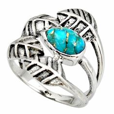 1.96cts blue copper turquoise 925 silver solitaire leaf ring size 7.5 r37066