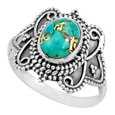 3.02cts blue copper turquoise 925 silver solitaire ring jewelry size 8.5 r26790