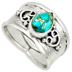 2.24cts blue copper turquoise 925 silver solitaire ring jewelry size 7.5 r34473