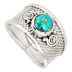 2.23cts blue copper turquoise 925 silver solitaire ring jewelry size 8.5 r34671