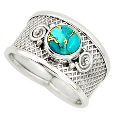 2.23cts blue copper turquoise 925 silver solitaire ring jewelry size 8.5 r34672