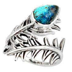 2.35cts blue copper turquoise 925 silver solitaire ring jewelry size 6.5 r37017