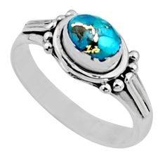 1.47cts blue copper turquoise 925 silver solitaire ring jewelry size 7.5 r54411