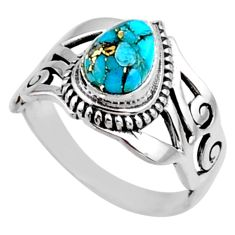 2.35cts blue copper turquoise 925 silver solitaire ring jewelry size 6.5 r54649
