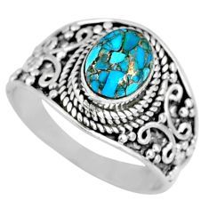 1.81cts blue copper turquoise 925 silver solitaire ring jewelry size 7.5 r57931