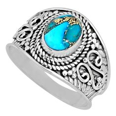 1.81cts blue copper turquoise 925 silver solitaire ring jewelry size 7.5 r57934