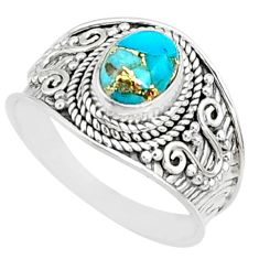 3.50cts blue copper turquoise 925 silver solitaire handmade ring size 8.5 r81405