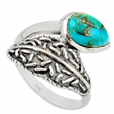 2.24cts blue copper turquoise 925 silver solitaire ring jewelry size 7 r36906