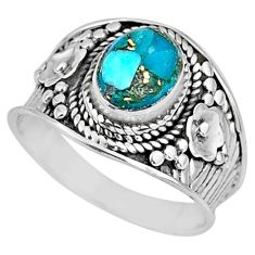 1.81cts blue copper turquoise 925 silver solitaire ring jewelry size 7 r57932