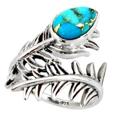 2.44cts blue copper turquoise 925 silver solitaire ring jewelry size 8 r37015