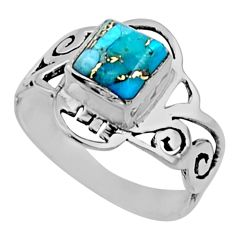 2.72cts blue copper turquoise 925 silver solitaire ring jewelry size 8 r54434