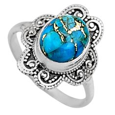 4.08cts blue copper turquoise 925 silver solitaire ring jewelry size 8 r54489
