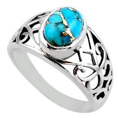 3.25cts blue copper turquoise 925 silver solitaire ring jewelry size 8 r54667