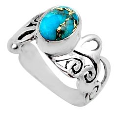 3.19cts blue copper turquoise 925 silver solitaire ring jewelry size 8 r54692