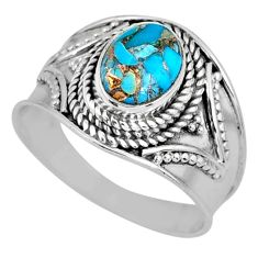 2.08cts blue copper turquoise 925 silver solitaire ring jewelry size 8 r57930