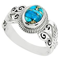 2.01cts blue copper turquoise 925 silver solitaire ring jewelry size 8 r68641