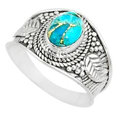 2.02cts blue copper turquoise 925 silver solitaire handmade ring size 8 r81403