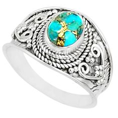 1.94cts blue copper turquoise 925 silver solitaire handmade ring size 8 r81409