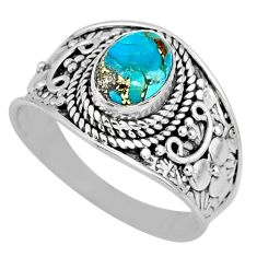 1.94cts blue copper turquoise 925 silver solitaire ring jewelry size 9 r57929