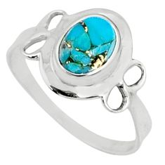 2.38cts blue copper turquoise 925 silver solitaire ring jewelry size 9 r68561