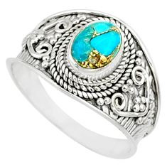 1.99cts blue copper turquoise 925 silver solitaire handmade ring size 9 r81401