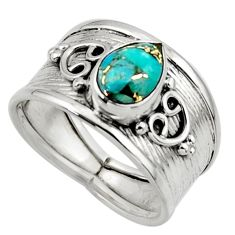 2.04cts blue copper turquoise 925 sterling silver ring jewelry size 7.5 r44293