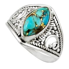 4.29cts blue copper turquoise 925 sterling silver ring jewelry size 7 r44875