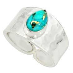 2.42cts blue copper turquoise 925 sterling silver solitaire ring size 7.5 r34428