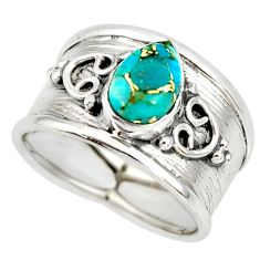2.24cts blue copper turquoise 925 sterling silver solitaire ring size 7.5 r34465